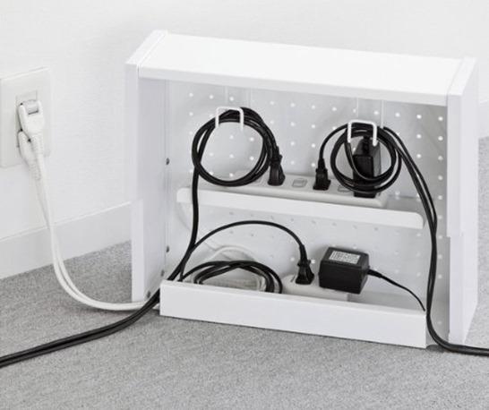 サンワサプライ ケーブル&タップ収納ボックス