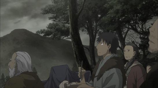 第26話 「草を踏む音」沢(タク:村長の息子)とイサザ(ワタリの少年)