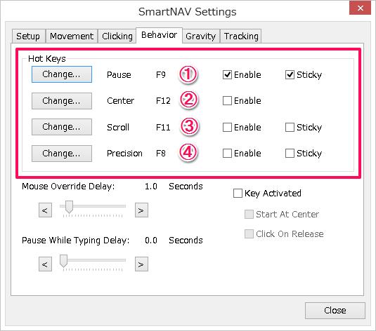 SmartNav設定 behaver