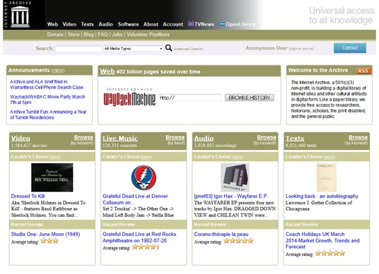 Internet Archive- Digital Library of Free Books, Movies, Music & Wayback Machine