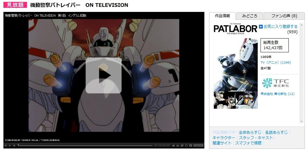 「機動警察パトレイバー ON TELEVISION」  【アニメ】はバンダイチャンネル