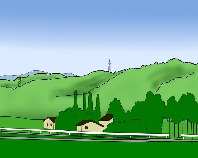 山の頂に砲台