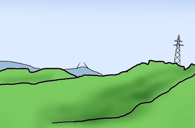 山の頂に砲塔ズームアップ