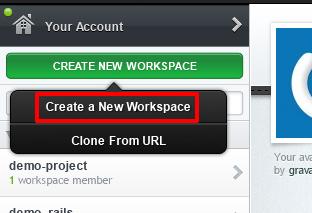 新しくワークスペースを作成するポップアップ