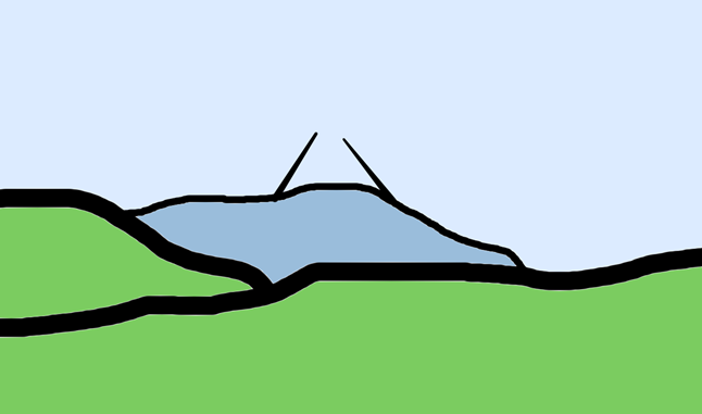 山の上に砲台ズームアップ