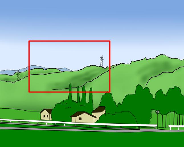 山の頂上に砲台(赤枠)
