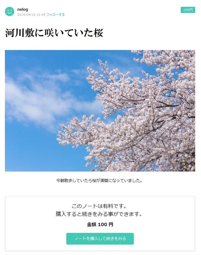 河川敷に咲いていた桜  nelog  note