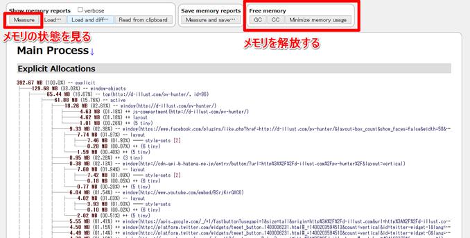 Firefoxメモリ情報の表示