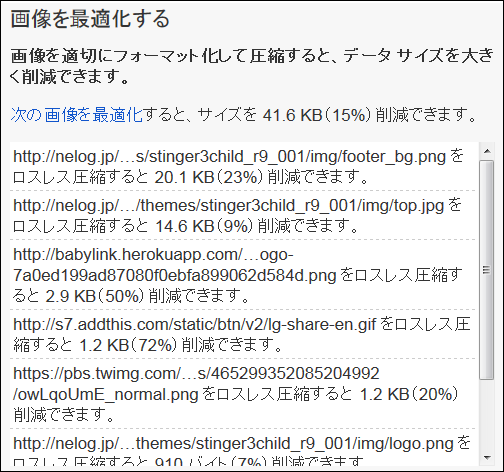 PageSpeed Insights提案画像の最適化前
