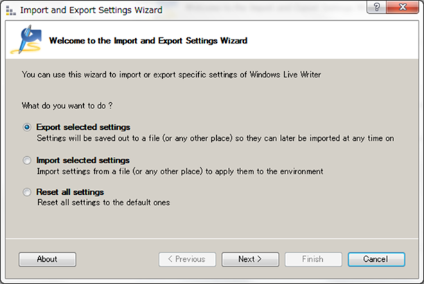 Import and Export Wizard for Windows Live Writer