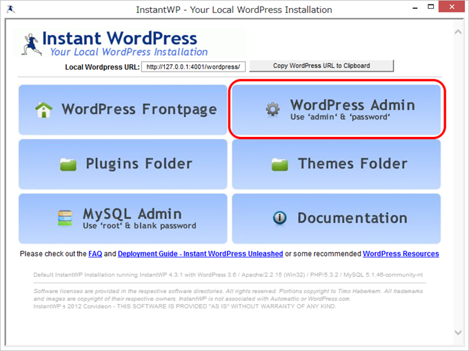 Instant WordPress Admin