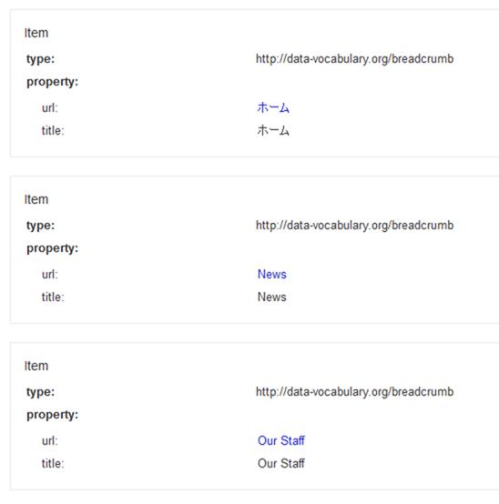リッチスニペットで作成した構造化データ部分