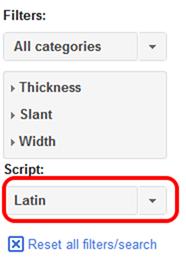 Google Fontsのフィルター