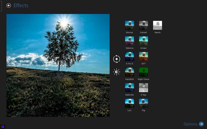 InstaPic画像のエフェクト選択