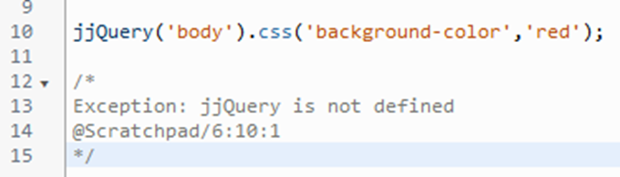 スクラッチパッドのコードに不備があった場合