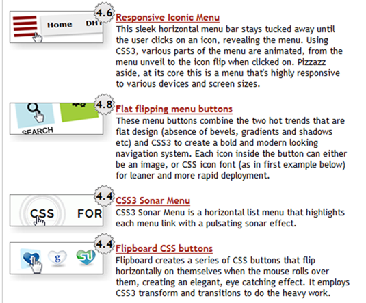 CSS Library Horizontal CSS Menus