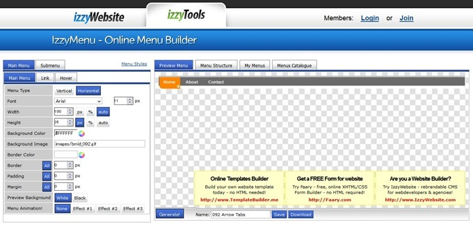 IzzyMenu - Online Menu Generator - Build Website CSS-DHTML Menu Easily!