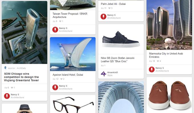 Pinterestのタイル状リスト