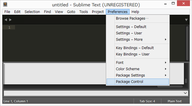 「Preferences」→「Package Control」を選択