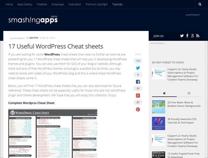 17 Useful WordPress Cheat sheets  SmashingApps.com