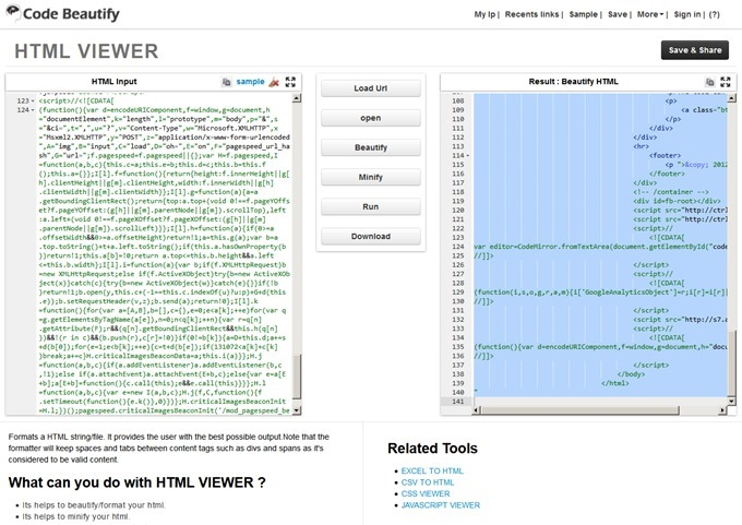 Best Online HTML Viewer,Editor,Beautify,Minify,Formatter,Test Output