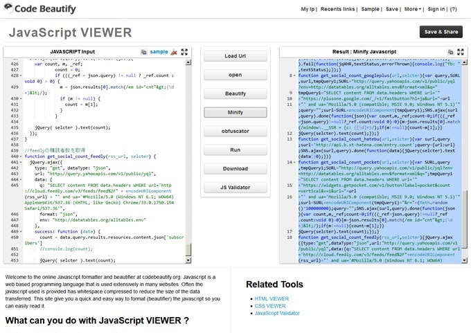 Best Online JavaScript Tool to View,Beautify,Formatter,Minify,Obfuscator Javascript Code