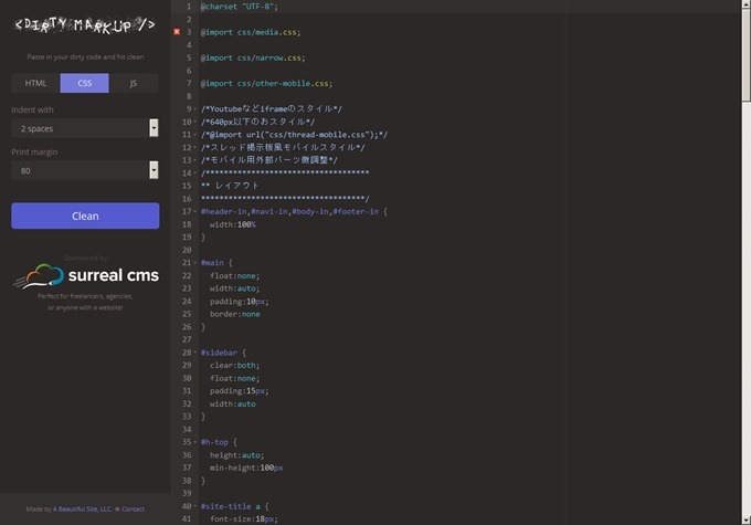 Dirty Markup · Tidy up your HTML, CSS, and JavaScript code