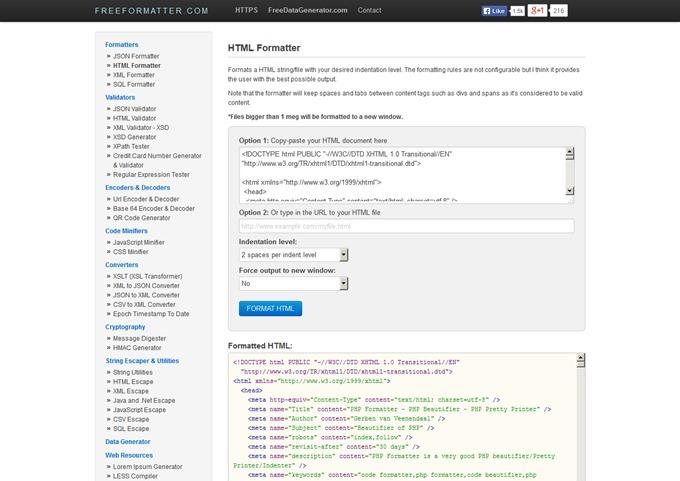 Free Online HTML Formatter - FreeFormatter.com