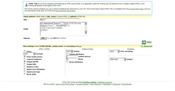 HTML Tidy Online