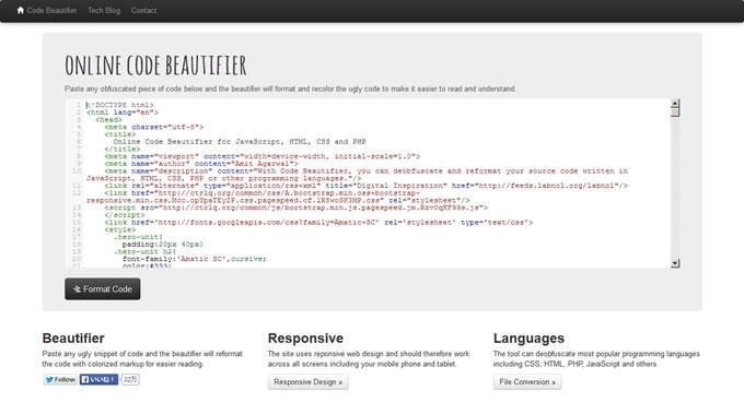 Online Code Beautifier for JavaScript, HTML, CSS and PHP