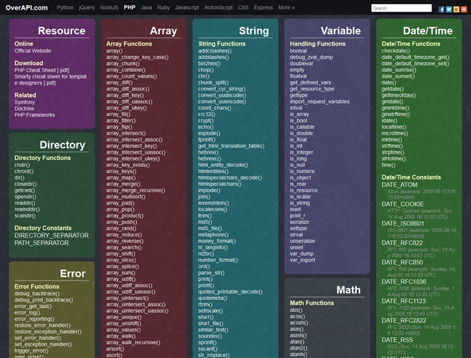 PHP Cheat Sheet  OverAPI.com