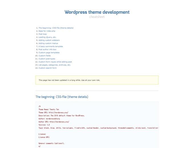 Wordpress Theme Development Cheatsheet » Codeclown