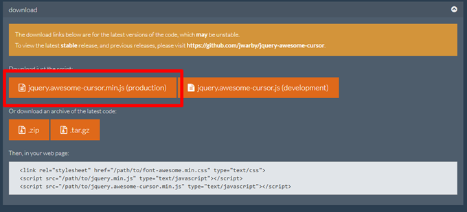 jquery.awesome-cursor.min.js (production)」