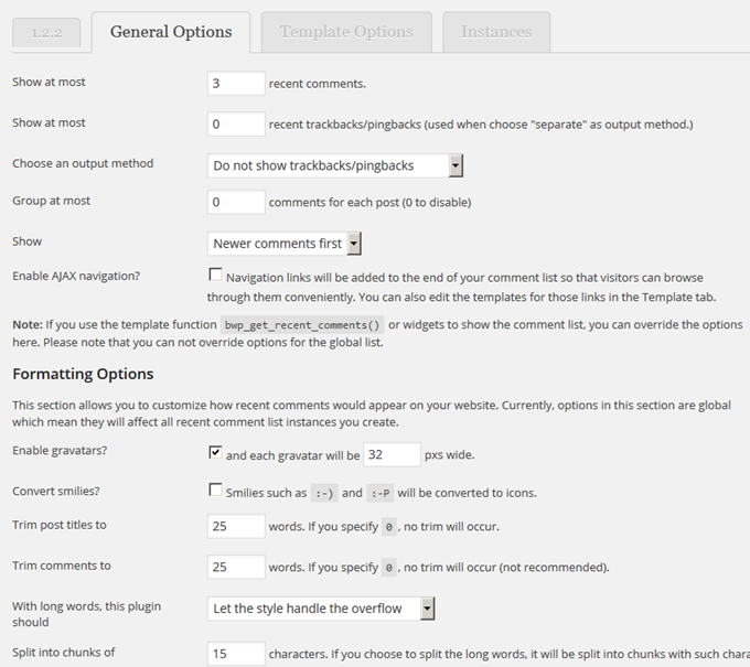Better WordPress Recent Comments Options