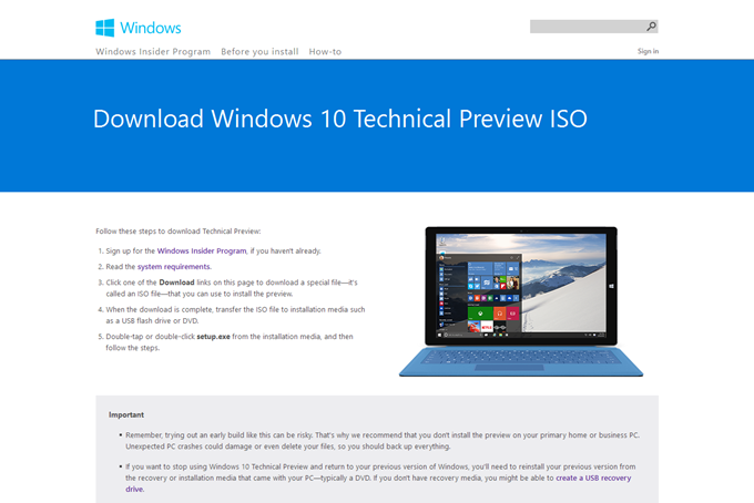 Download Windows 10 Technical Preview ISO - Microsoft Windows