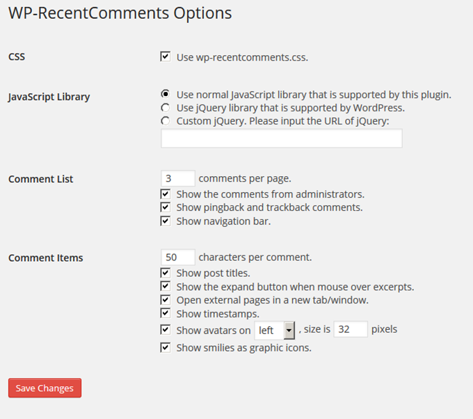 WP-RecentComments Options