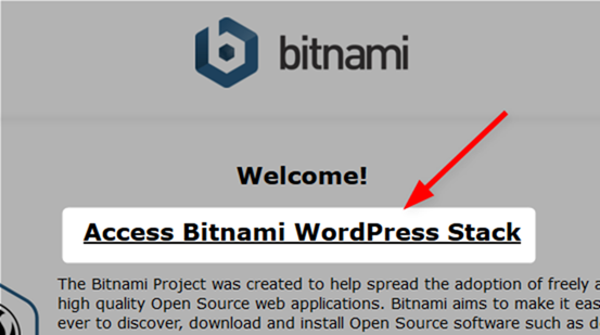 Access Bitnami WordPress Stack