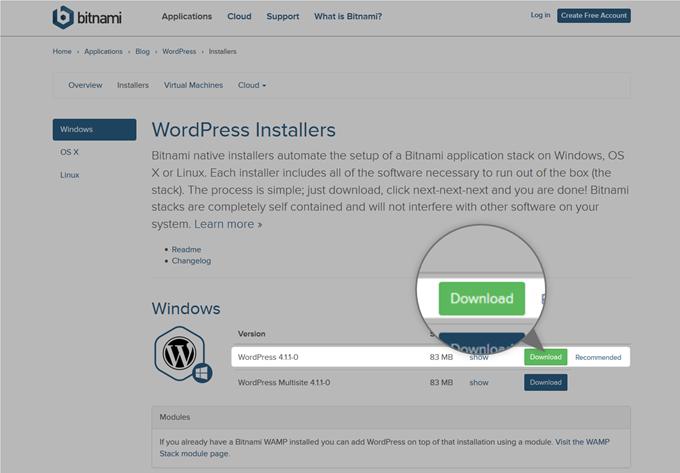 BitnamiのWordpress4.1.1のダウンロード