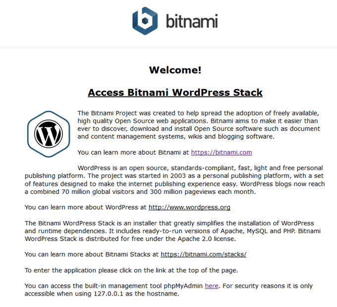Bitnamiのウェルカム画面