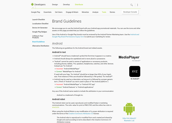 Brand Guidelines Android Developers