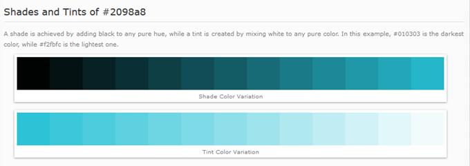 暗い色、明るい色の提案(Shades and Tints)