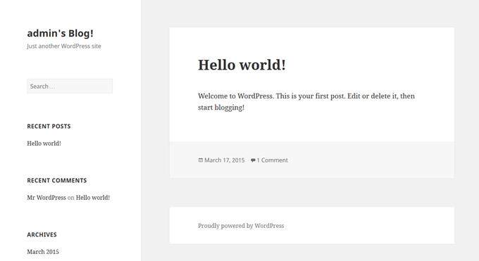 Wordpressの初期画面が表示される