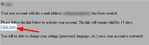 メールでのアクティベーション
