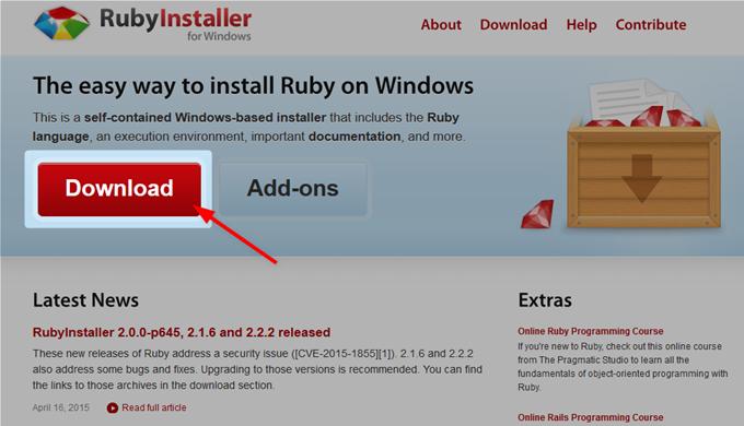 RubyInstallerのダウンロード
