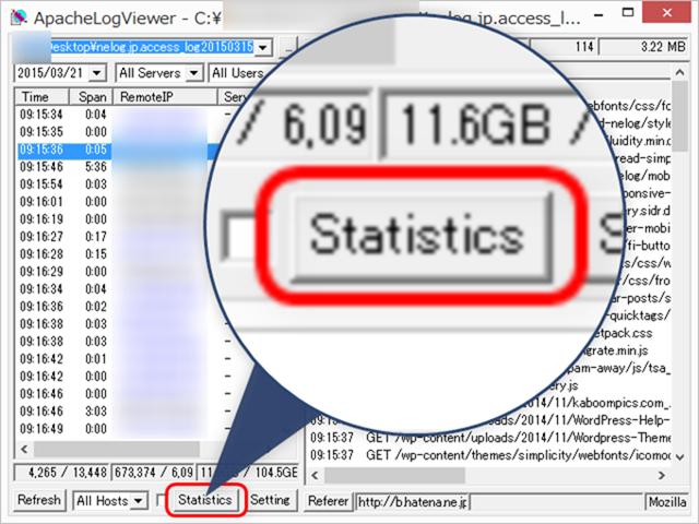 「Statistics(統計)」ボタンを押す