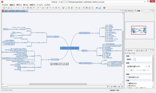 XMindの作業画面