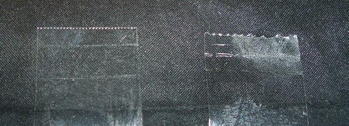カルカットと従来テープカッターの切り口の違い