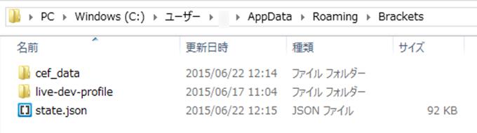 設定ファイルを移動したBracketsフォルダ内