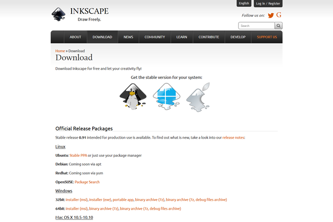 Download Inkscape