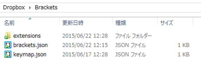 Dropboxフォルダ内に移動したBrackets設定ファイル